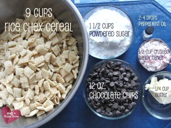 Ingredients needed to make peppermint puppy chow recipe for Christmas.