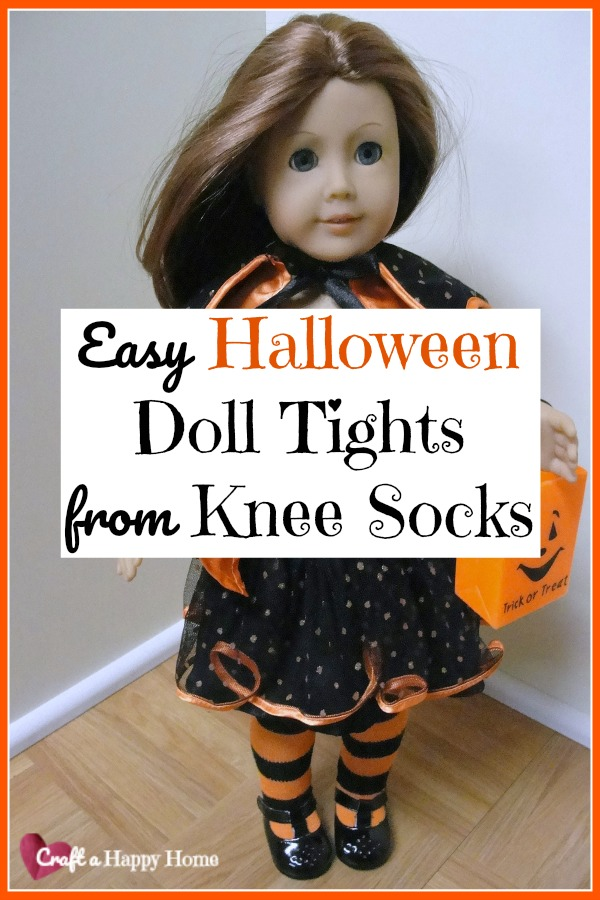 Did you know you can make a pair of DIY doll tights for 18 inch dolls from an old knee sock? It's easy! Keep reading to learn how.