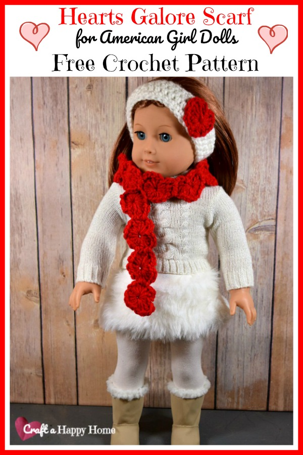 Keep your 18 inch doll warm all winter long with this cute Hearts Galore American Girl Crochet Doll Scarf Pattern. Get the free crochet pattern here!