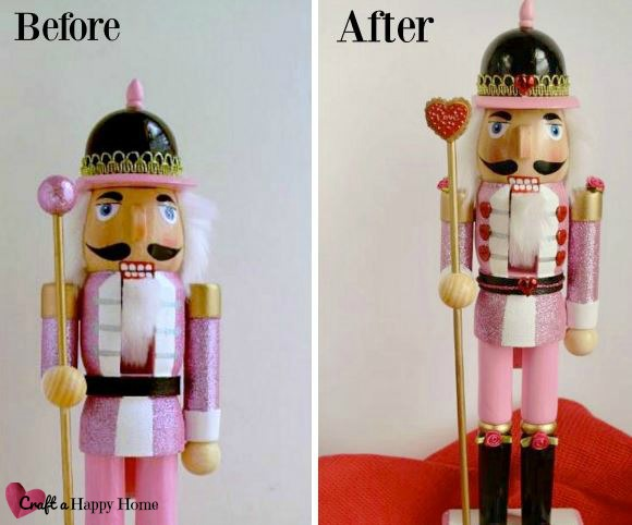 Transform an after-Christmas clearance rack find into a cute Valentines Day Nutcracker to brighten your house this February. Learn how to make one here!