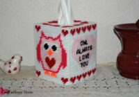 This cute Owl Always Love You tissue box cover plastic canvas pattern features an adorable owl and hearts galore. It would be perfect to make for Valentine's Day.