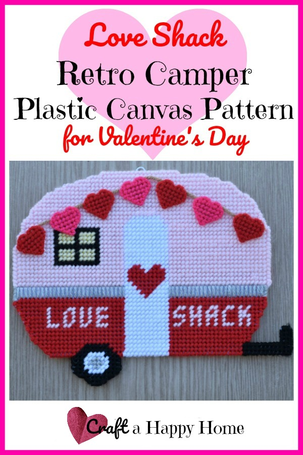 This cute Love Shack retro camper plastic canvas plastic canvas pattern would be perfect for Valentine's Day! Click here to learn how to get the pattern.