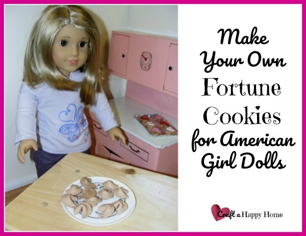 Love to make DIY AG doll food? These American Girl Doll fortune cookies are easy to make and are so adorable! You just need some polymer clay. Learn how to make them here.