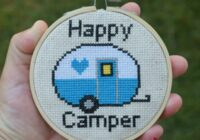 This Happy Camper cross stitch pattern is super cute and so easy to stitch. The finished project would make a great gift for anyone who loves vintage campers.