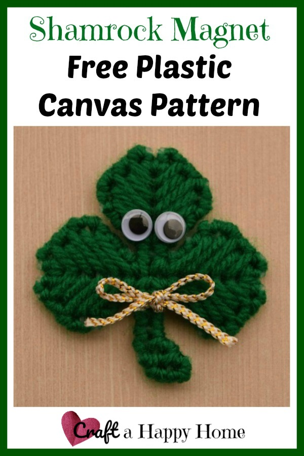 Looking for a quick St. Patrick's Day craft? This plastic canvas shamrock pattern is super cute and great for making fridge magnets or pins.