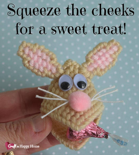 Make a cute Easter treat with this fun Easter Bunny Plastic Canvas Squeezums Pattern. It's the perfect size for holding a Hershey's Kiss.